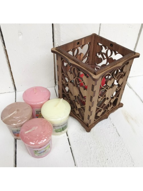 Wooden Yankee Candle Gift Set With Love Heart Holder