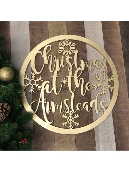 Large Personalised Christmas At The Surname Hoop