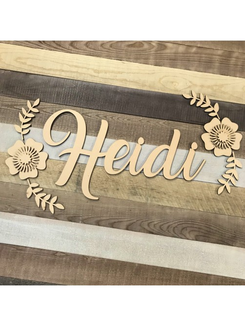 Custom MDF Name Plaque With 3D Flowers, Any name Or Word Laser Cut