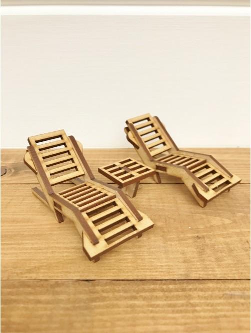 Two Miniature Fairy Beach Sun Loungers With Table