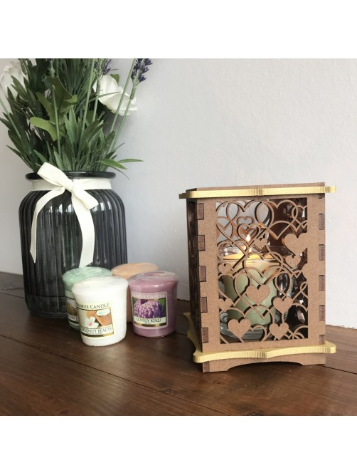 Wooden Yankee Scented Candle Gift Set With Love Heart Holder