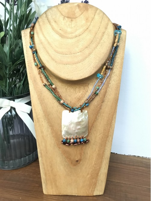 Turquoise Multi Strand Bead & Shell Necklace
