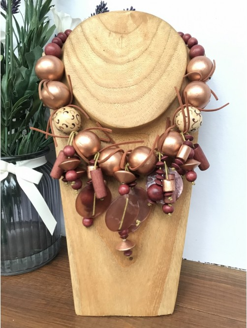 Copper Bead, Leather & Shell Necklace