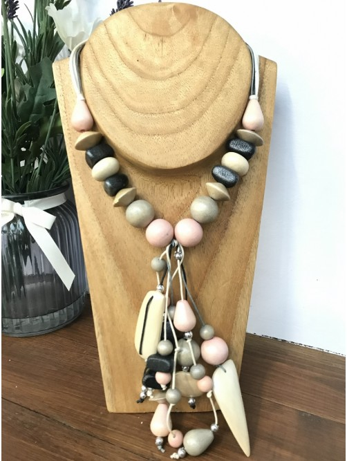 Metallic Silver & Pink Beaded Necklace