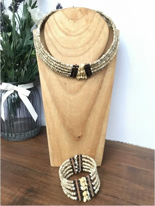 Cream Beaded & Wood Necklace & Bracelet Set
