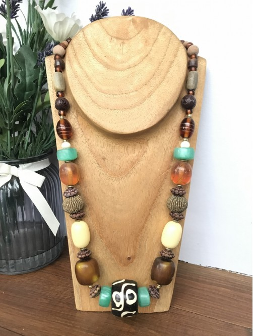 Chunky Long Brown & Turquoise Beaded Necklace