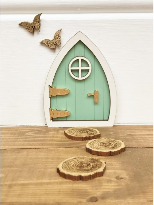 Miniature Green Fairy Door With Stepping Stones