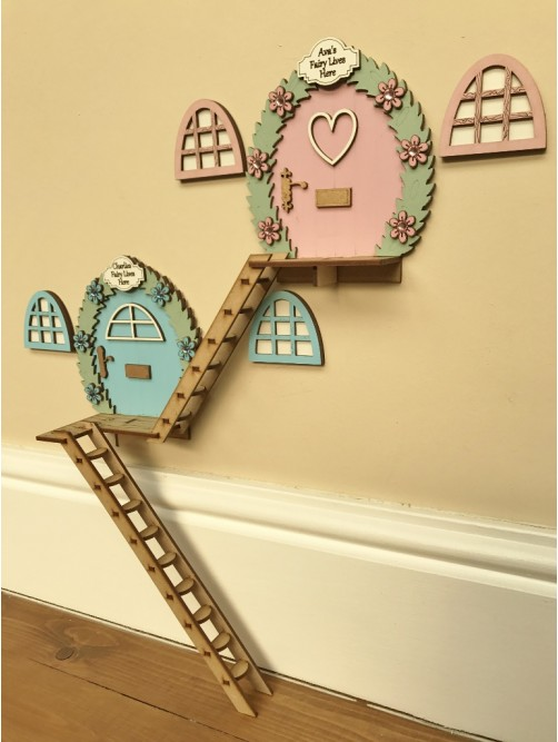 Personalised Double Tree House Fairy Doors For Brother & Sister With Ladders Set