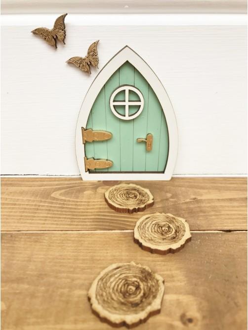 Miniature Green Fairy Door With Stepping Stones