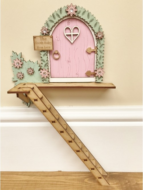 The Tooth Fairy Lives Here Tree House Door With Ladder, Pink Or Blue