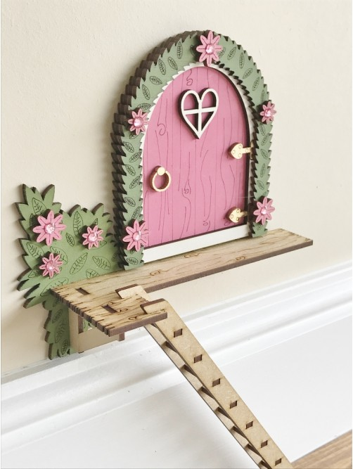 Pink The Tree House Magical Fairy Door With Ladder