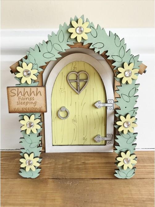 "Yellow ""Shhhh Fairies Sleeping"" Enchanted Doorway Fairy Door"