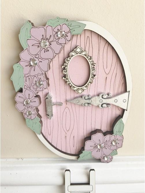 Pink Flowers Fairy Door With Ladder