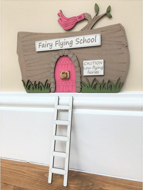 Pink Fairy Flying School Door With Ladder
