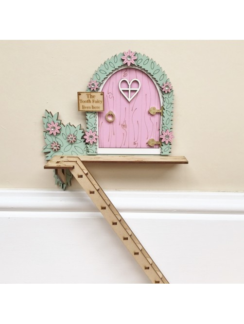 Pale Pink The Tooth Fairy Lives Here Tree House Door With Ladder