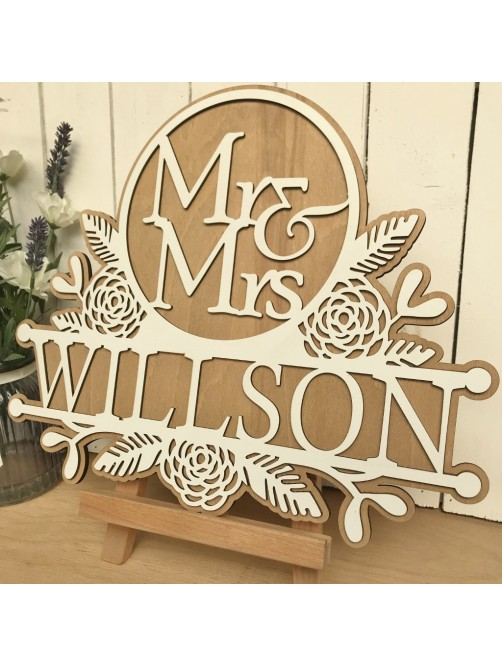 Personalised Mr & Mrs White & Wood Wall Plaque
