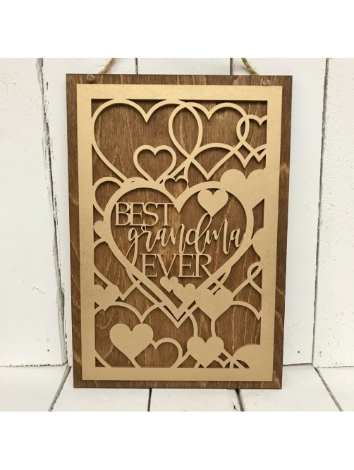 Best Grandma Ever Gold & Wood Wall Plaque