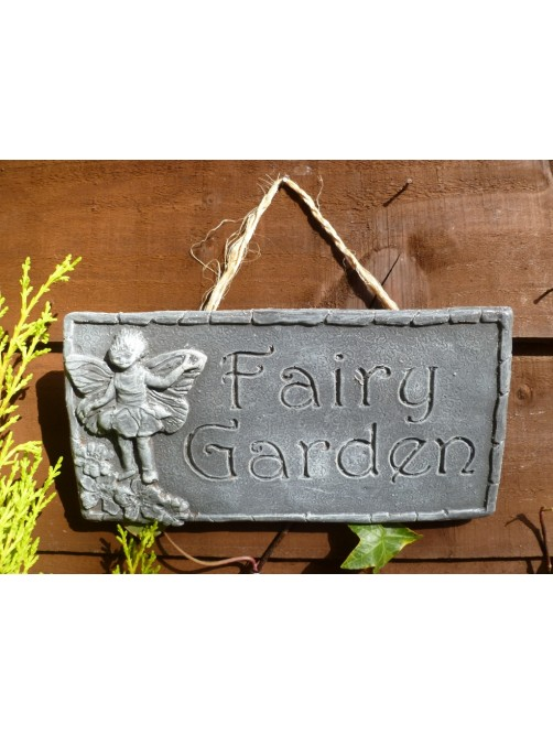 Grey Fairy Garden Wall Hanging Sign