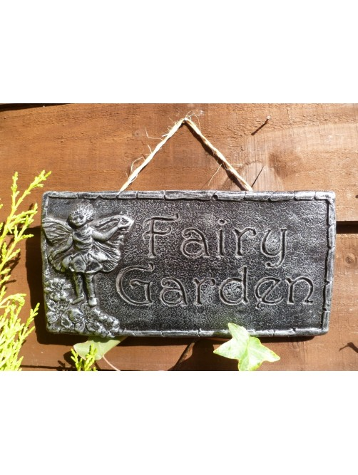 Brushed Silver Fairy Garden Wall Hanging Sign