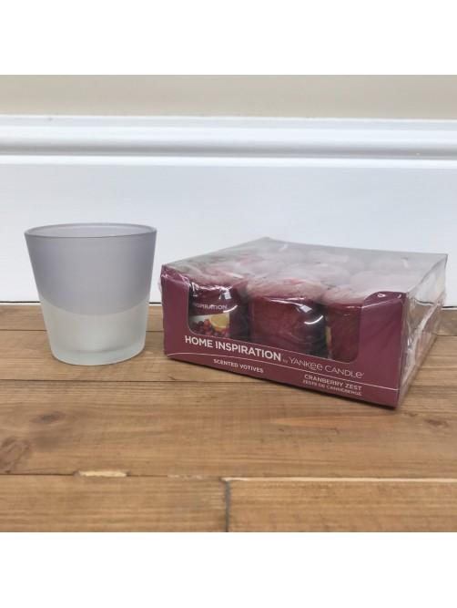 Yankee Candle Cranberry Zest x 9 & Grey Sandblast Votive Holder Set