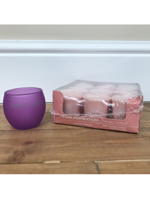 Yankee Candle Pink Island Sunset x 9 & Purple Roly Poly Votive Holder Set