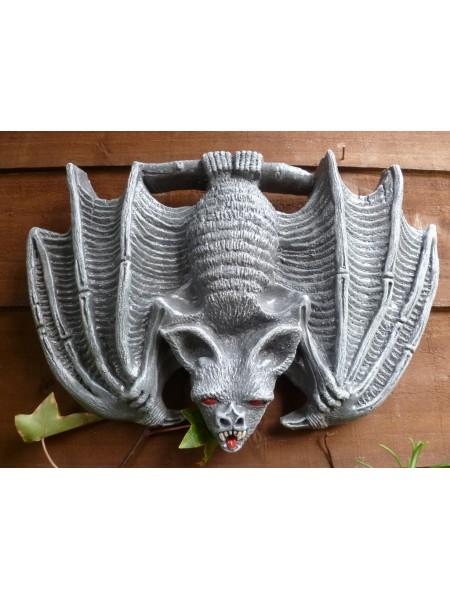 Grey Gothic Upside Down Bat Wall Plaque