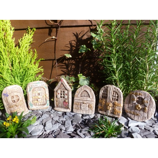 Beautiful set of six rustic fairy doors garden ornament for Fairy door for wall