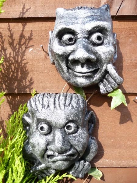 Set Of 2 Oxford Faces Brushed Silver Gargoyles