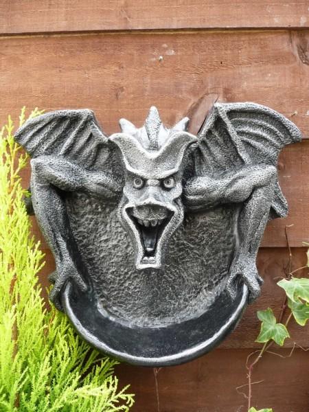 Gothic Gargoyle Wall Hung Shelf Brushed Silver