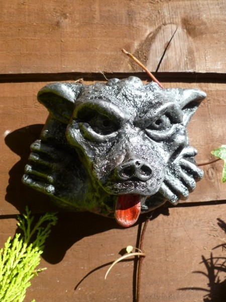 Silver Gargoyle With Tongue Out Wall Plaque