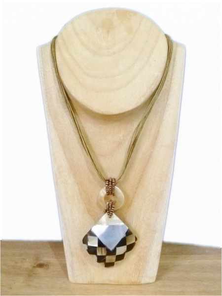 Coconut Shell, Cord & Metal Necklace