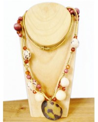 Amber & Brown Leather Bead Necklace