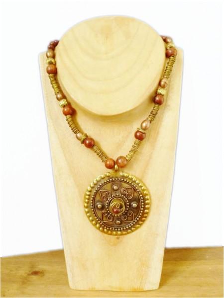 Bronze & Brown Metal Necklace