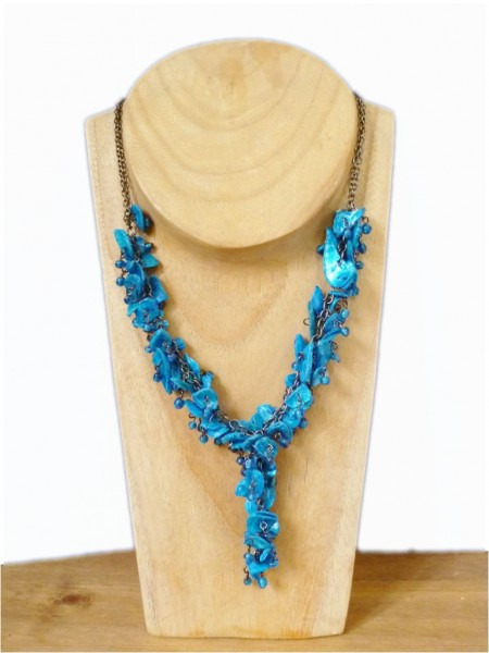 Azure Blue Shell Necklace