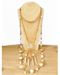 Pearlised Cream & Gold Beaded Necklace