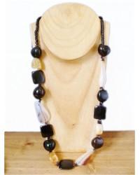 Long Black & Citrine Necklace