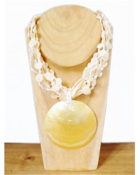 Cream & White Shell Button Necklace