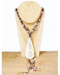 Purple & Cream Filigree Pendant Necklace