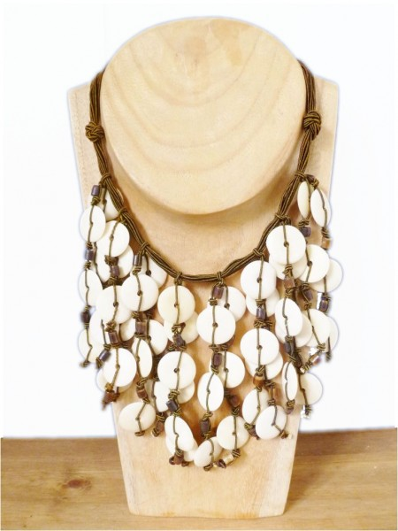 Brown & Cream Beaded Necklace