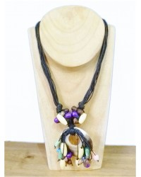 Mother Of Pearl & Cord Beaded Necklace