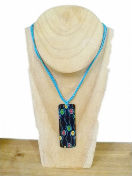 Blue Hand Painted Shell Necklace