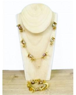 Copper Bead Necklace & Bracelet Set