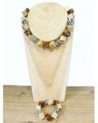 Square Gold Wooden Bead Necklace & Bracelet Set