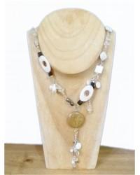 Long Black & White Beaded Necklace