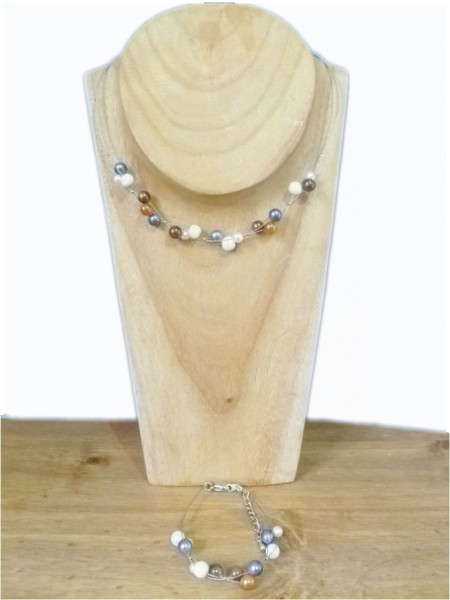 Pearled Cream & Copper Necklace & Bracelet Set