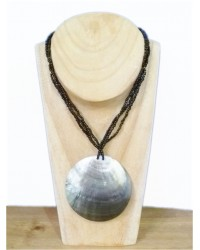 Black Multi Strand Bead & Shell Necklace