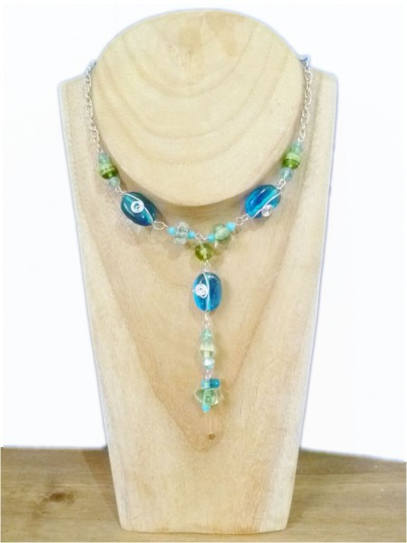 Blue & Green Glass Bead Necklace