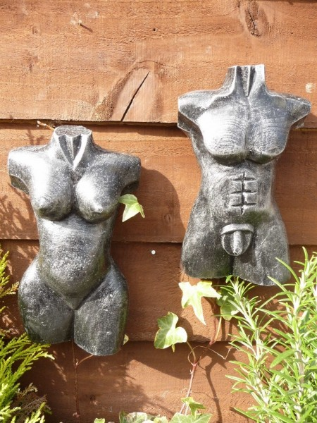 Silver Pair Of 21cm Male & Female Torso Wall Hangings