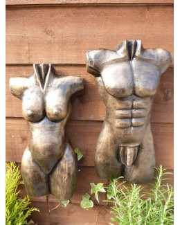 Gold Pair Of 30cm Male & Female Torso Wall Hangings