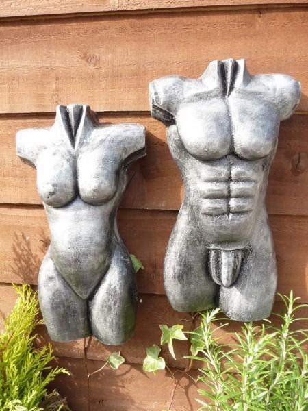 Silver Pair Of 30cm Male & Female Torso Wall Hangings